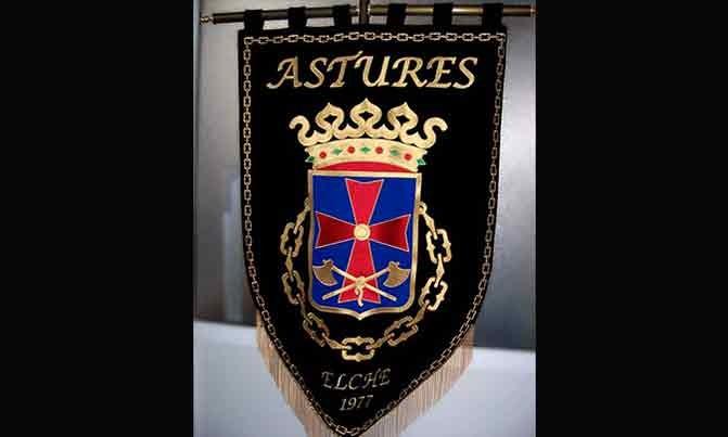 Bordado estandarte Comparsa Astures fiestas moros y cristianos Elche