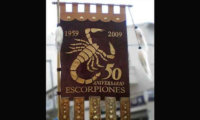 Bordado estandarte Escuadra especial Escorpiones fiestas moros y cristianos Villena