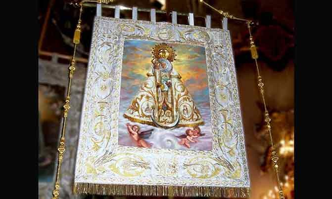 Bordado estandarte Virgen de las Virtudes Morenica fiestas de moros y cristianos Bordados Villena